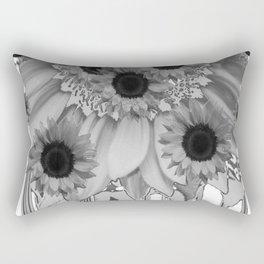 MODERN ABSTRACT BLACK & WHITE FLOWERS GARDEN  ART Rectangular Pillow