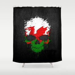 Flag of Wales on a Chaotic Splatter Skull Shower Curtain