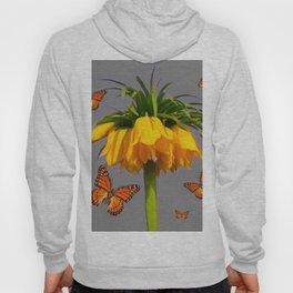 ORANGE MONARCH BUTTERFLIES CROWN IMPERIAL FLOWER Hoody