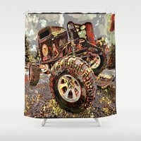 truck Shower Curtains featuring mud truck by Vector Art