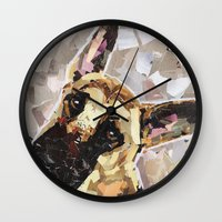 german shepherd Wall Clocks featuring Carson- The German Shepherd by Maritza Hernandez