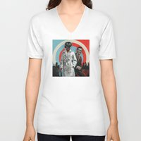superheroes V-neck T-shirts featuring Superheroes SF by Troy DeRose