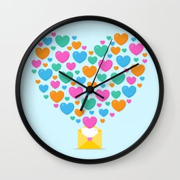 Colorful of heart shape flowing above the letter Wall Clock
