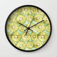 kiwi Wall Clocks featuring kiwi by kociara