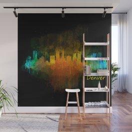 Denver Colorado City Watercolor Skyline Hq v4 Wall Mural