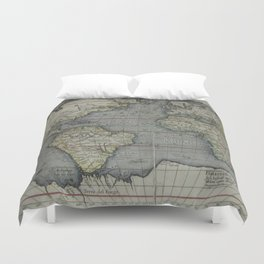 Vintage Map of The World (1595) 2 Duvet Cover