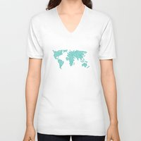 polkadot V-neck T-shirts featuring World Map - Polkadot Atlas (Cyan) by Rothko