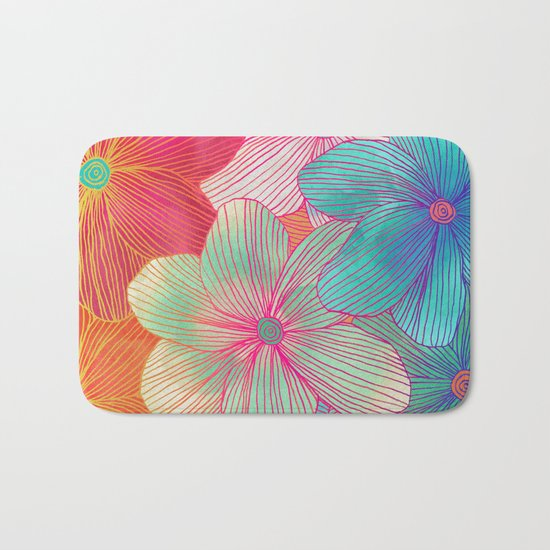 Between the Lines - tropical flowers in pink, orange, blue & mint Bath Mat