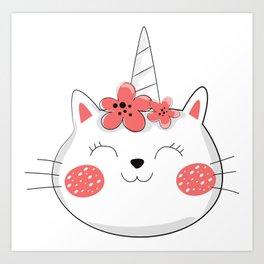 Unicorn Cat, Cat With Flower Wreath - Red White Art Print