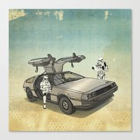 federico babina Canvas Prints featuring Lost, searching for the DeathStarr _ 2 Stormtrooopers in a DeLorean  by Vin Zzep