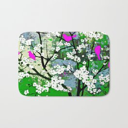 Pink Birds and White Blossoms on Trees Bath Mat