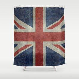 UK Flag, Dark grunge 3:5 scale Shower Curtain
