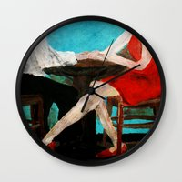 dress Wall Clocks featuring Red Dress by James Peart