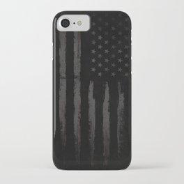Black American flag iPhone Case