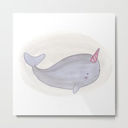 Animal Tales - Narwhal in watercolor Metal Print