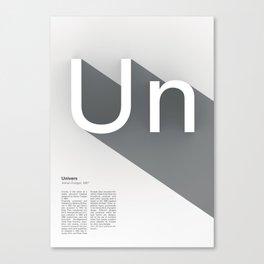 The Typographic Alphabet: Univers (21/26) Canvas Print