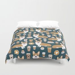 Corgi Coffee print corgi coffee pillow corgi iphone case corgi dog design corgi pattern Duvet Cover