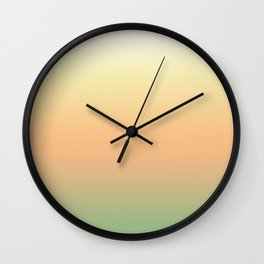 White, yellow, coral, green gradient, Ombre. Wall Clock