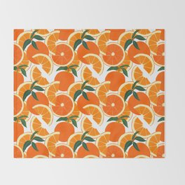 Orange Harvest - White Throw Blanket