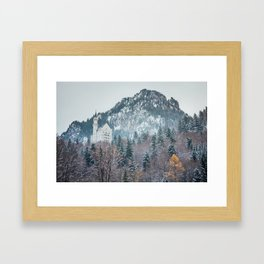 Neuschwanstein Castle with Bavarian Alps in background Framed Art Print