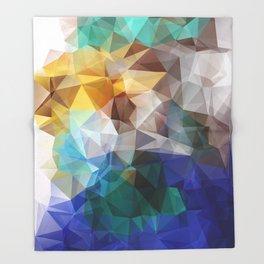 Abstract background of triangles polygon print. Bright design colors Throw Blanket