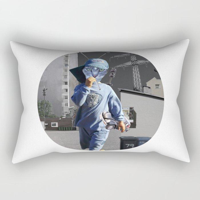 CatKid in illusion City Collage Rectangular Pillow