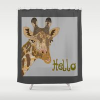 hello Shower Curtains featuring Hello by ArtLovePassion