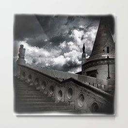 Black and White Gothic Castle Halloween Metal Print