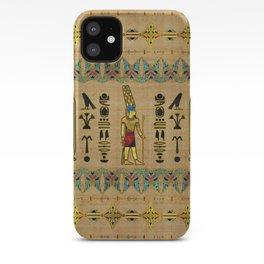 Egyptian Amun Ra - Amun Re Ornament on papyrus iPhone Case