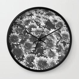 Chrysanthemum Autumn Flowers Black and White Photography Wall Clock