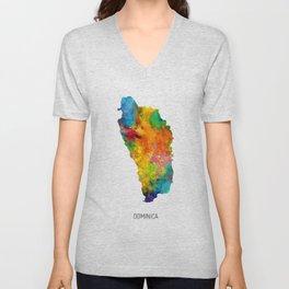 Dominica Watercolor Map Unisex V-Neck