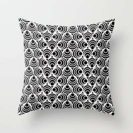 Minimal - white polka circles and dots on black - Mix&Match with Simplicty of life Throw Pillow
