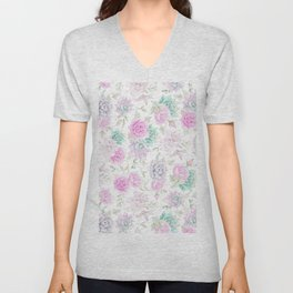 Pastel pink turquoise watercolor hand painted cactus floral Unisex V-Neck