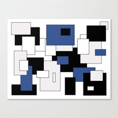 Squares - blue, gray, black and white. Canvas Print