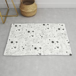flowers line drawing pattern black and white Rug
