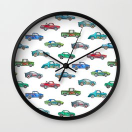 Little Toy Cars in Watercolor on White Wall Clock