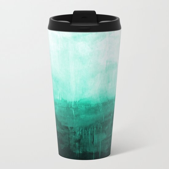 Paint 8 abstract minimal modern water ocean wave painting must have canvas affordable fine art Metal Travel Mug