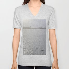 Lonely Boat in Key Biscayne, Miami, With the City as Background Unisex V-Neck