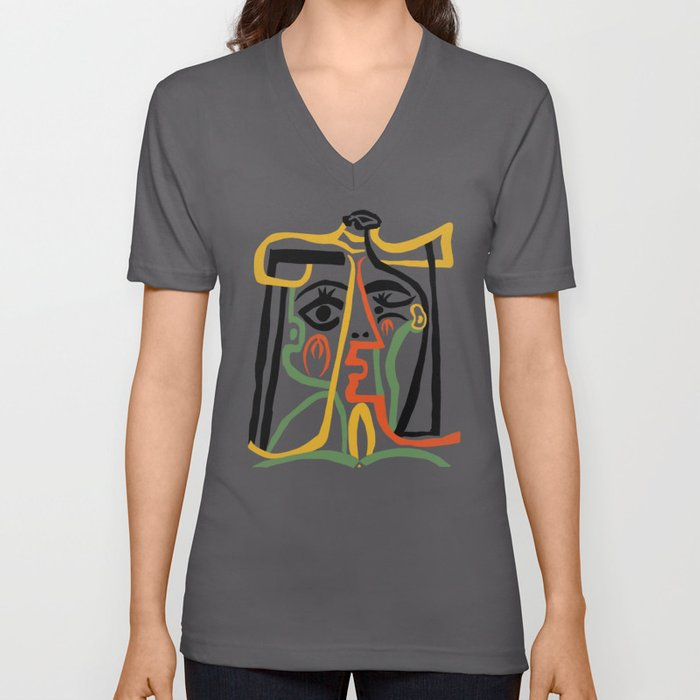 Picasso - Woman's head #1 Unisex V-Ausschnitt