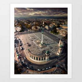 Aerial perspective above Heroes Square, Budapest, Hungary Art Print