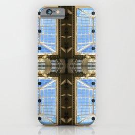 Abstract mirrored windows photography collage in a building with clear blue sky and shining sun iPhone Case