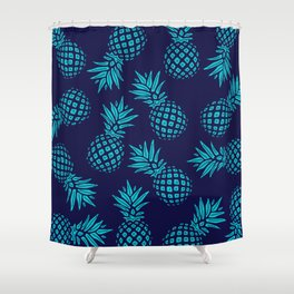 Pineapple Pattern - Teal on Navy Shower Curtain