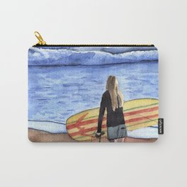 Girl with Surfboard Standing on the Beach Carry-All Pouch