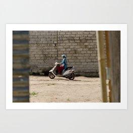 Nepali Woman on Motorcycle Art Print