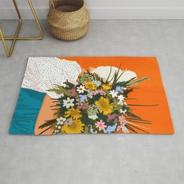Happiness Is To Hold Flowers In Both Hands #illustration Rug