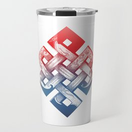 Colored Buddhist knot of eternity Travel Mug
