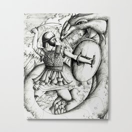 Perseus fighting the sea monster Metal Print