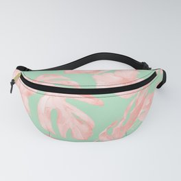 Tropical Palm Leaves Hibiscus Pink Mint Green Fanny Pack