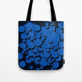 3D Cobalt blue Cubes Tote Bag