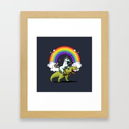Unicorn ride dino Framed Art Print
